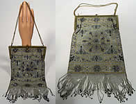 Large Antique Steel Cut Silver & Gold Micro Beaded Baroque Rococo Purse