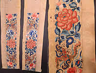 Antique Chinese Yellow Silk Embroidered Forbidden Stitch Robe Sleeve Band Cuffs Pair