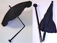 Victorian Civil War Black Silk Ebony Folding Handle Marquis Mourning Parasol