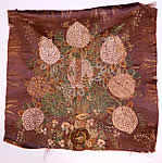 Antique Early 19th Century Silk Embroidered Floral Birds Nest Picture Square