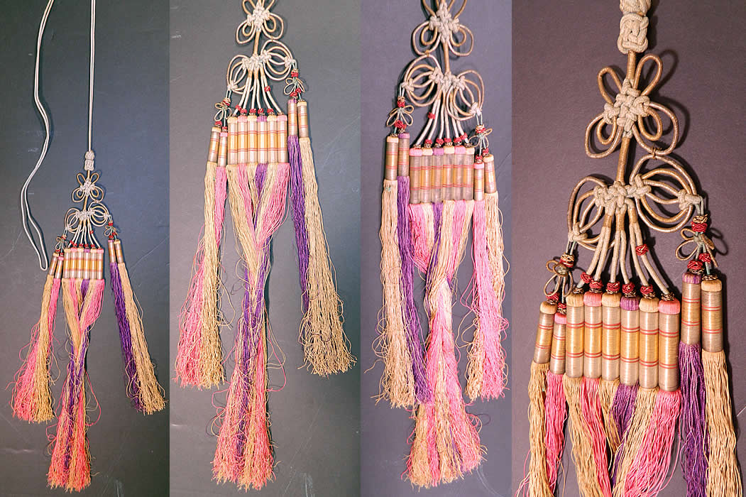 Antique Chinese Colorful Gold Wrapped Knotted Silk Fringe