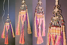 Antique Chinese Colorful Gold Wrapped Knotted Silk Fringe Tassel Trim Large