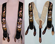 Victorian Pansy Forget Me Not Black Silk Embroidered Mourning Braces Suspenders