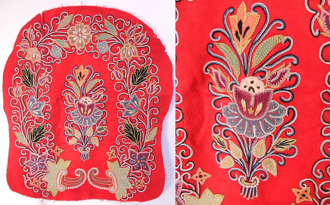 Antique resht rasht iran embroidered chain stitch applique wool fabric
