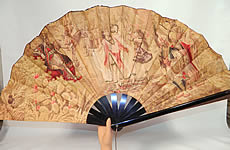 Victorian Antique Ottoman Large Chintz Figural Belly Dancer Harem Embroidered Fan