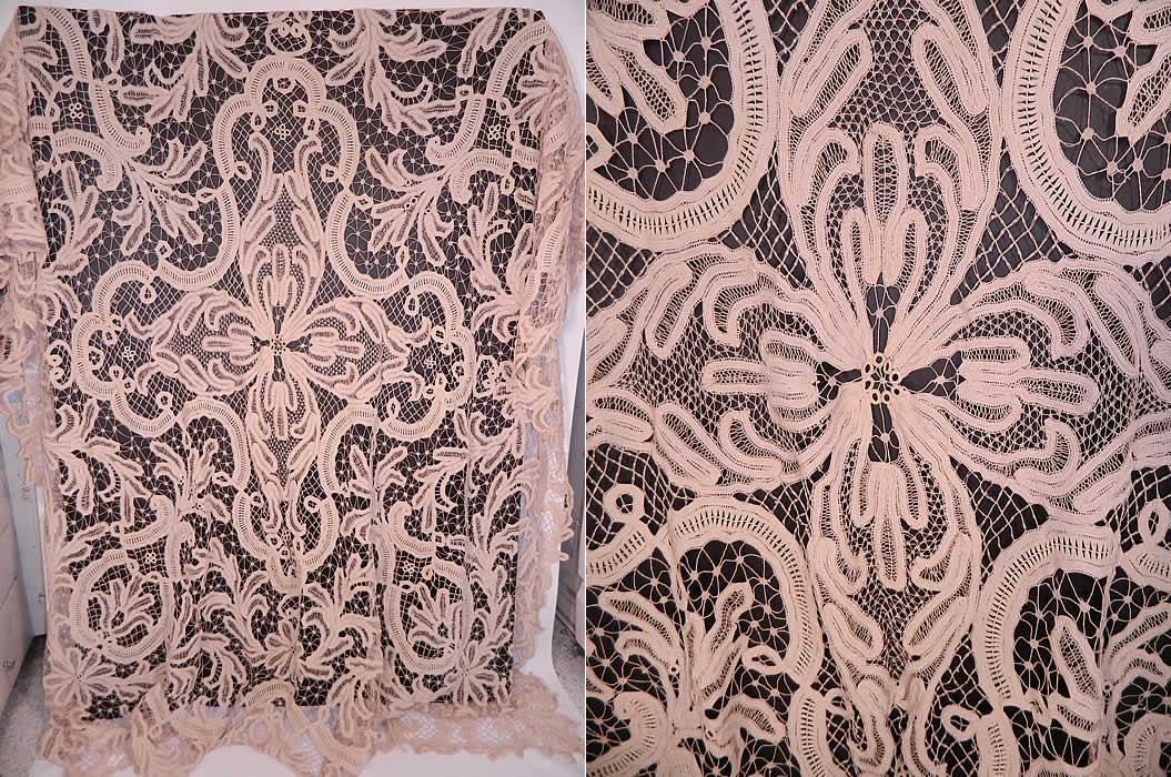 Victorian Antique Battenburg Tape Lace Bedspread Tablecloth Textile Fabric