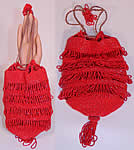 Antique Art Deco Red Beaded Loop Fringe Tassel Drawstring Gatsby Flapper Purse