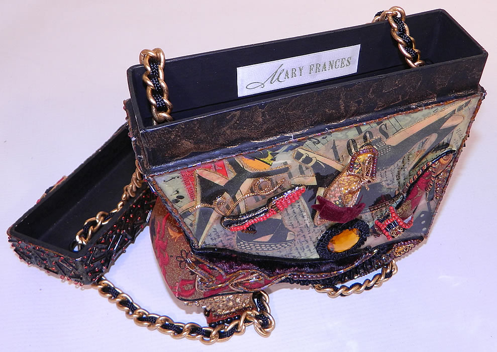 Vintage Mary Frances Paper Mache Decoupage Wooden Shoe Beaded Box Purse There Is A