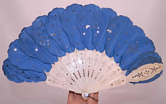 Victorian Blue Silk Feather Silver Sequin Carved Pierced Sticks Jenny Lind Fan