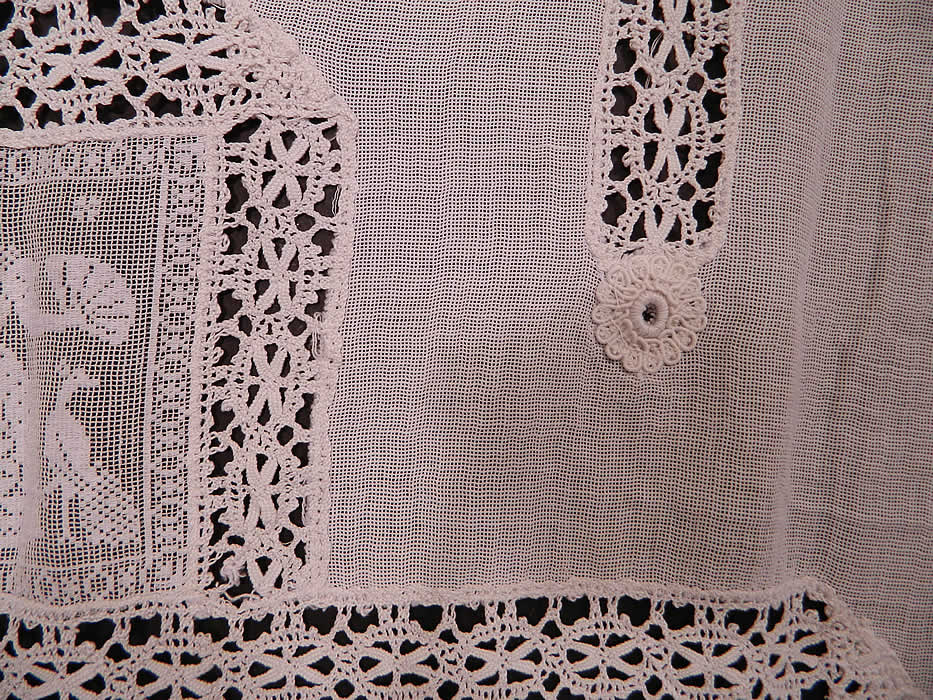 Victorian Antique White Figural Filet Lace Net Drapery ...