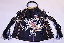 Antique Chinese Silk Embroidered Spider Chrysanthemum Tassel Purse