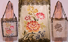 Antique 18th Century French Silk Damask Brocade Fabric Gold Lace Purse