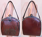 Vintage Arts & Crafts Tooled Leather Whip Stitch Jeweled Silver Frame Handbag Purse