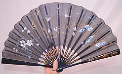 Antique Victorian Hand Painted Flowers Birds Sequin Black Silk Pleated Folding Fan