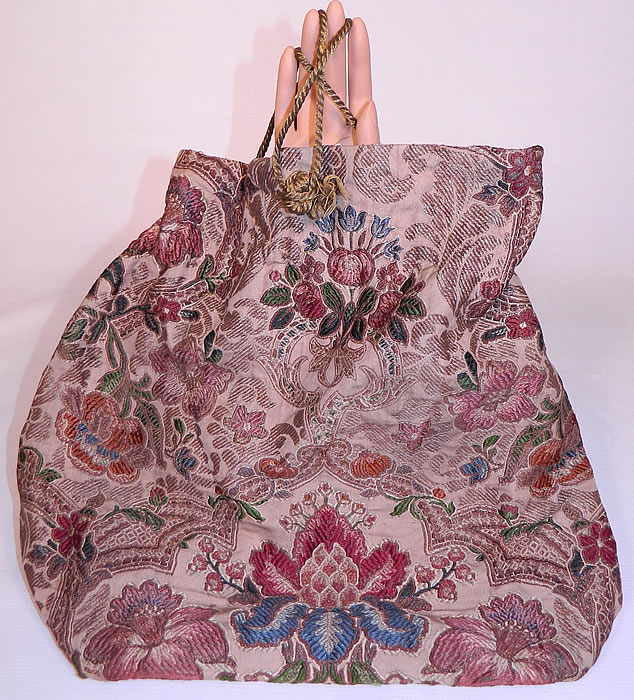 Victorian Antique  Silk Damask Brocade Jacobean Tapestry Fabric Bag Purse.This Victorian era antique silk damask brocade Jacobean tapestry fabric bag purse dates from 1900.