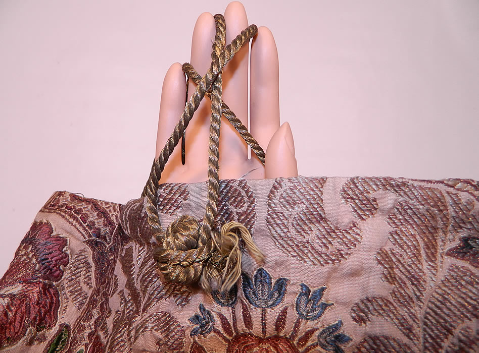 Victorian Antique  Silk Damask Brocade Jacobean Tapestry Fabric Bag Purse.This fabulous French fabric purse has a large pouch hobo bag style which could have been used as a sewing bag, with a gold metallic lamé rope cord drawstring top and silk lining.