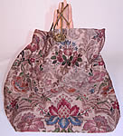 Victorian Antique Silk Damask Brocade Jacobean Tapestry Fabric Bag Purse