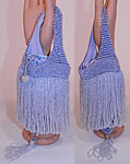 Vintage Periwinkle Blue Crystal Beaded Loop Fringe Tassel Drawstring Flapper Purse