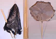 Victorian Civil War Antique Black Chantilly Lace Carved Roses Folding Handle Parasol
