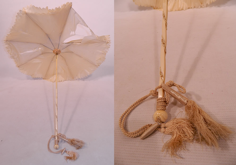 Victorian Cream Silk Carved Chain Link Wrapped Handle Parasol Tassel Trim
