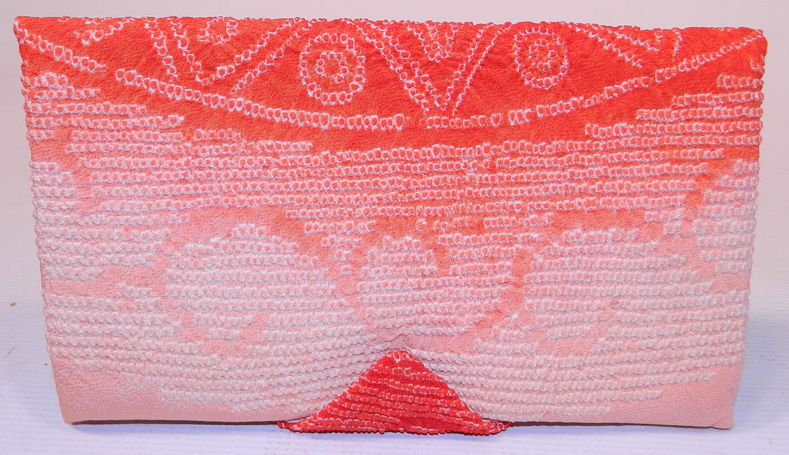 Vintage Japanese Red White Pink Ombre Silk Shibori Tie-Dye Fabric Clutch Purse