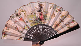Victorian Antique Lithograph Calling Cards Autograph Paper Pleated Folding Fan