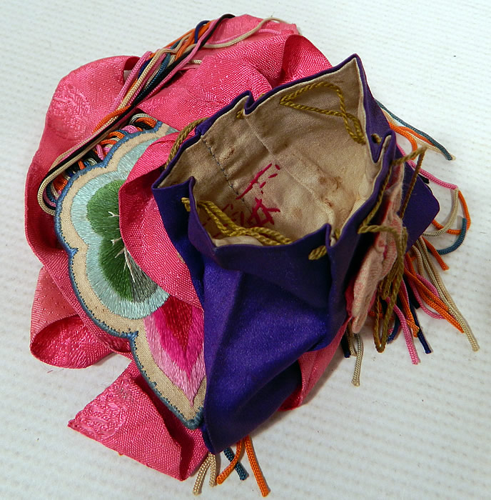 Antique Chinese Colorful Silk Embroidered Lotus Flower Fringed Pouch Purse Bag
