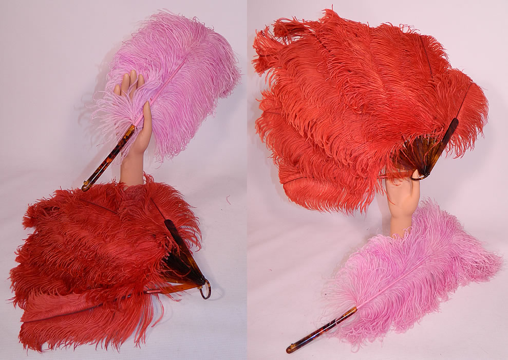 Vintage Art Deco Red & Pink Ostrich Feather Folding Fixed Flapper Fans