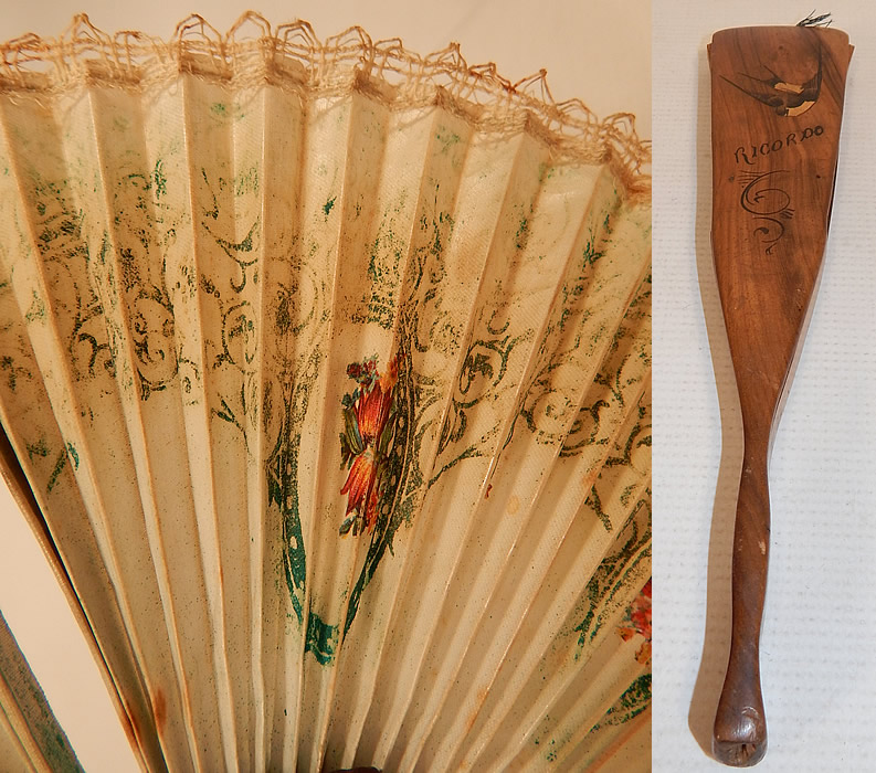 Antique Italian Ricordo Souvenir Hand Painted Wooden Cockade Flirting Mirror Fan