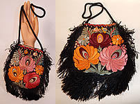 Vintage Matyo Hungarian Folk Embroidery Colorful Floral Fringe Boho Purse