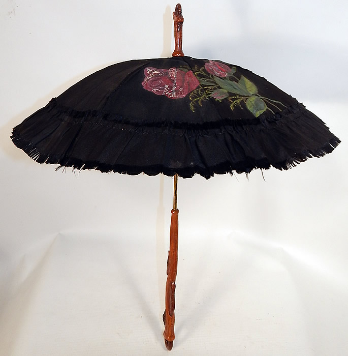 Victorian Black Silk Hand Painted Roses Grape Leaf Wood Carved Handle Parasol