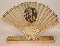 Antique 18th Century Hand Painted Paper Sequin Pierced Carved Folding Fan & Box