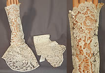 Antique Hand Made Brussels Point de Gaze Duchesse Bobbin Lace Dress Sleeves