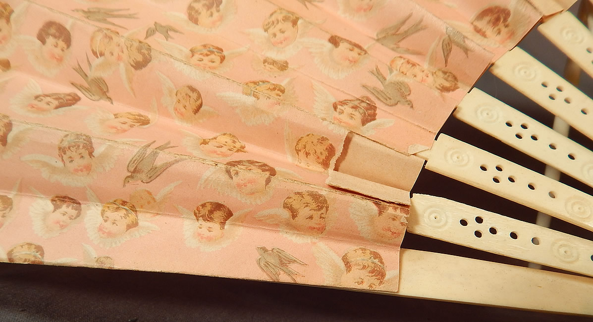Victorian Baby Cherubs Angel Doves Print Pink Paper Pleated Large Folding Fan