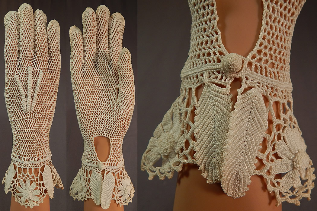 Vintage Bridal Wedding White Floral Leaf Hand Knit Crochet Lace Gauntlet Gloves