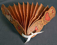 Vintage Beistle Die Cut Valentine Card Fold Out Pleated Tissue Paper Folding Fan