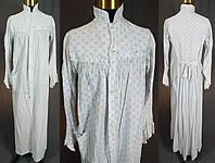 9d45800ceff Victorian Blue Polka Dot White Cotton Calico Print Wrapper Bustle Dress  Nightgown