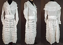 5f4661896103 Vintage Edwardian White Cotton Organdy Ruffled Fichu Belted Dress Tea Gown