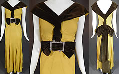 7d7025b7cc5 Vintage Chartreuse Crepe Brown Velvet Belted Bow Rhinestone Evening Gown  Dress
