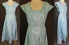 a5ac6a715806 Vintage Edwardian Cornflower Blue Starched Crisp Cotton Full Slip Dress