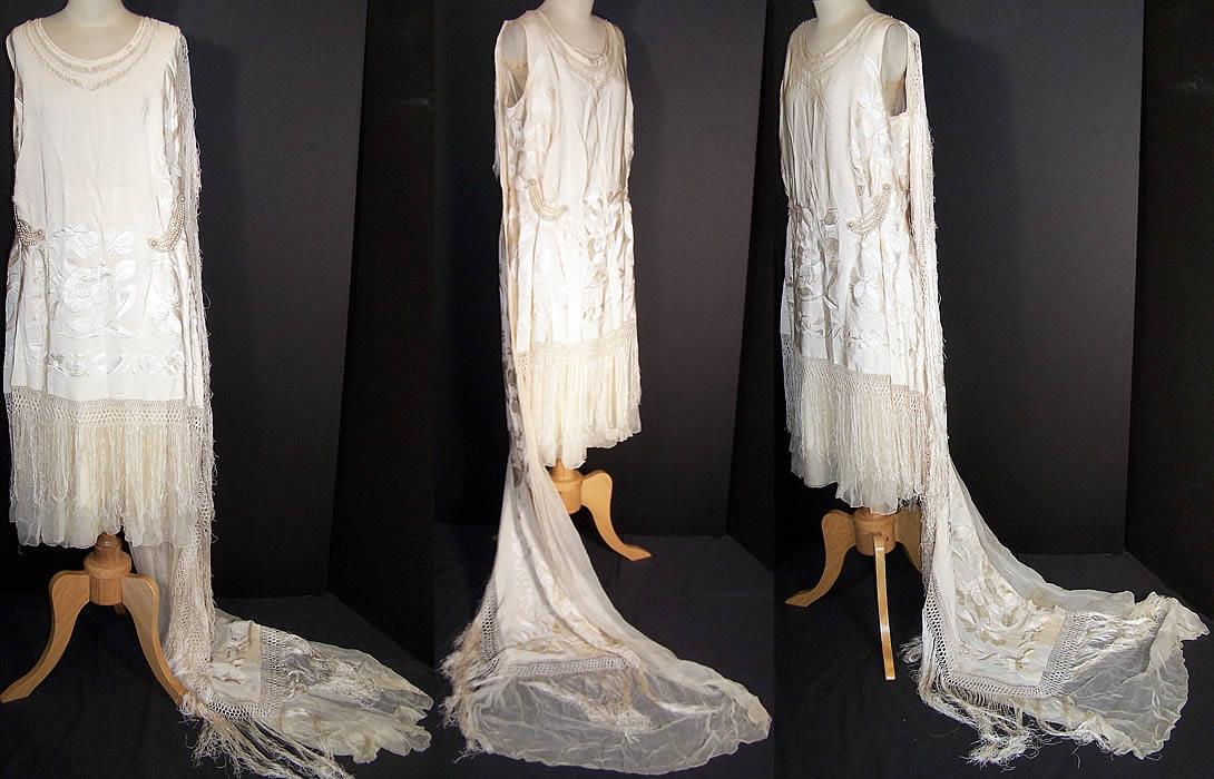 White Silk Embroidered Piano Shawl Wedding Dress Train