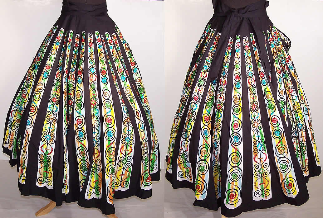Vintage Mexican Wool Handpainted Skirt signed by artist Christmas circle skirt 50s womens circle skirt christmas