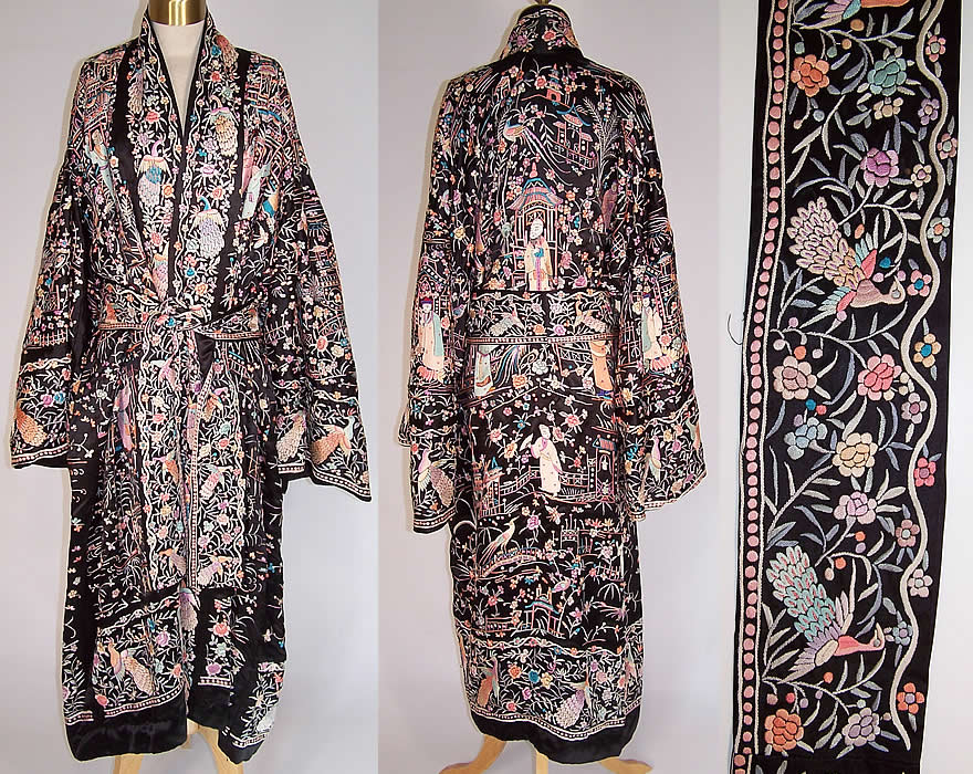be53ee61a Antique Chinese Figural Peacock Silk Embroidered Canton Piano Shawl Robe  Coat