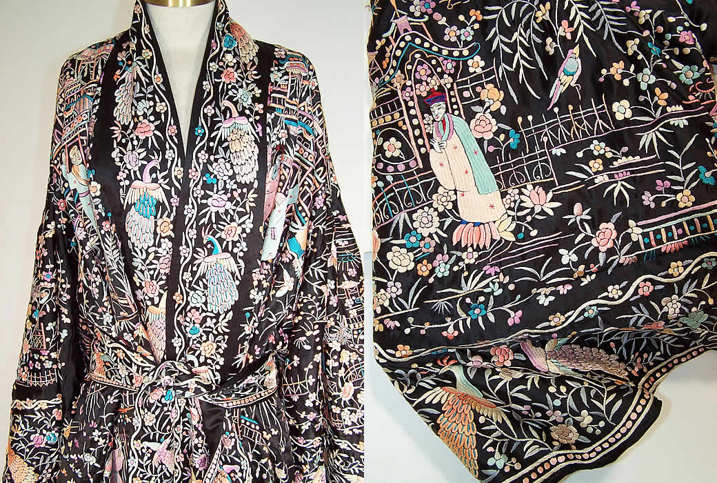 9df09aec9 Antique Chinese Figural Peacock Silk Embroidered Canton Piano Shawl Robe  Coat close up & extreme close