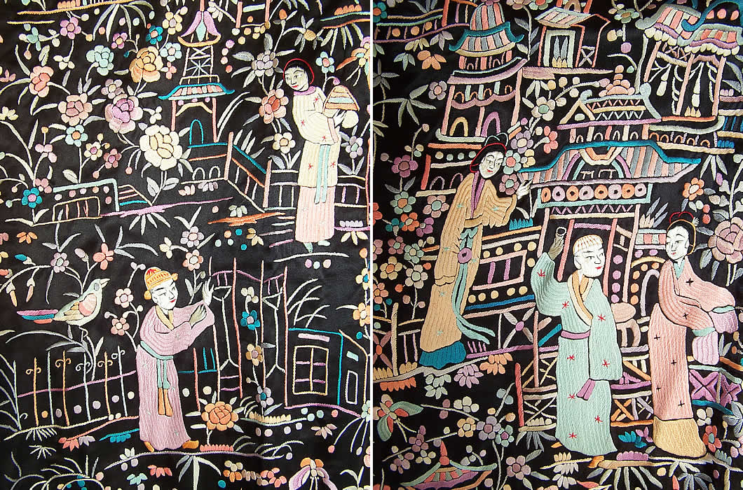 a4a30fe80 Antique Chinese Figural Peacock Silk Embroidered Canton Piano Shawl Robe  Coat two close ups.