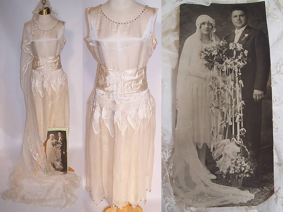Vintage Cream Silk Beaded Bridal Wedding Dress Lace Veil