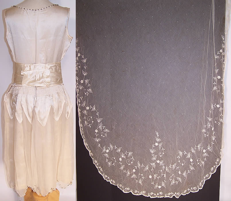 Off White Cream Satin Vintage Beaded Sequin Lace Bridal: Vintage Cream Silk Beaded Bridal Wedding Dress Lace Veil