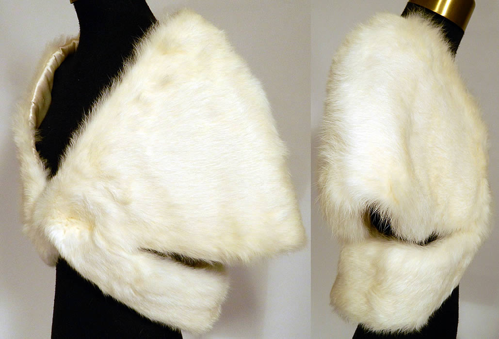 59cb907e1 Vintage White Rabbit Fur Stole Shawl Winter Wrap Glam Evening Cape