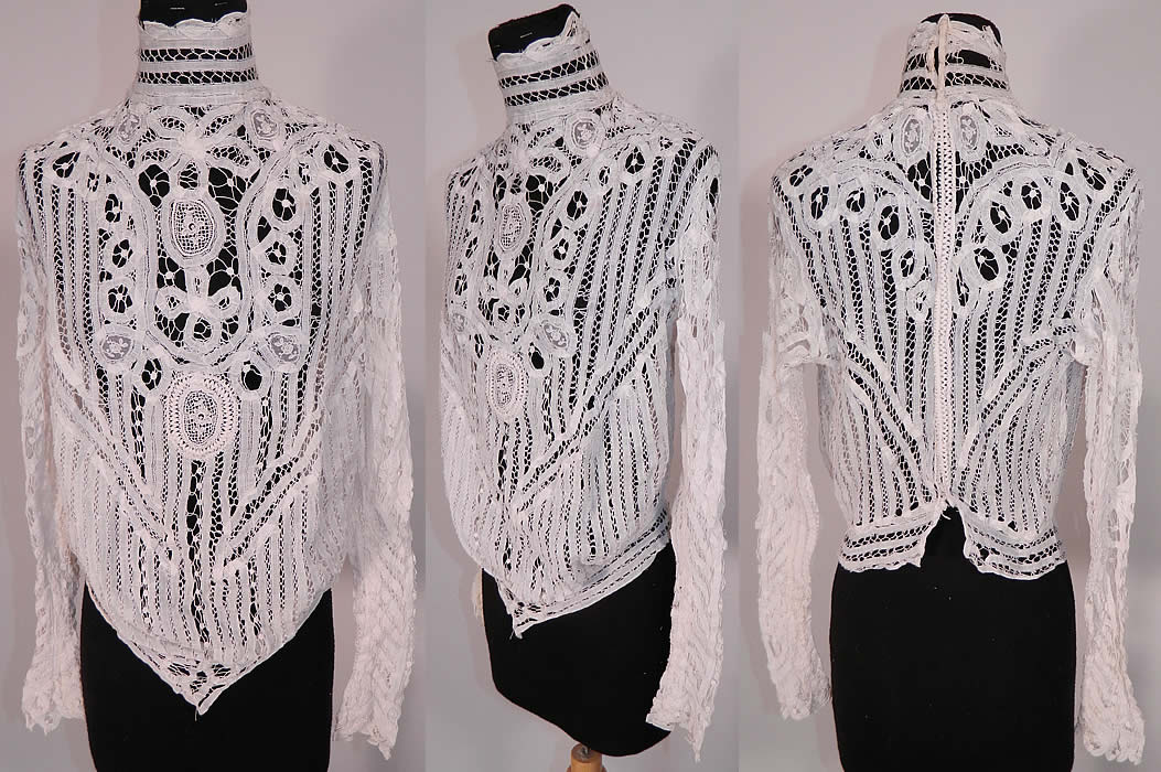 Edwardian antique white battenburg tape lace applique sheer blouse