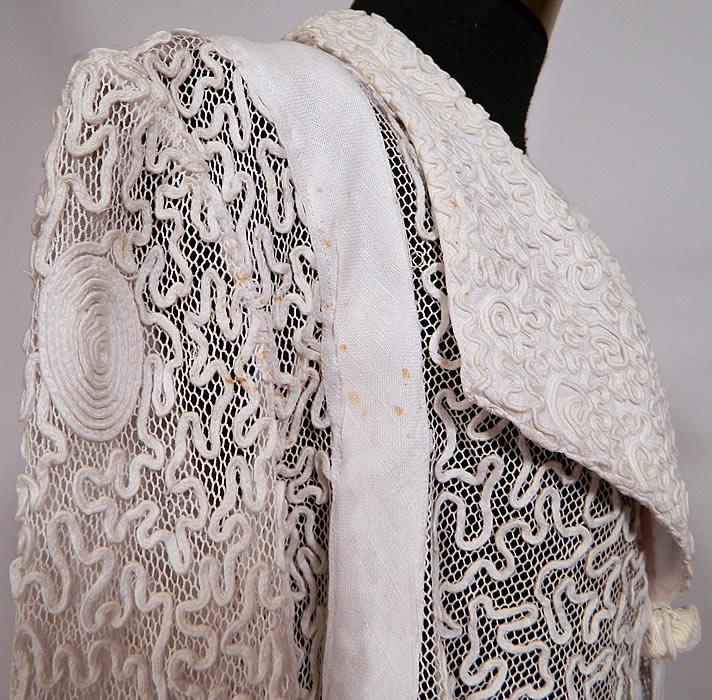 Edwardian White Linen Net Soutache Work Walking Suit Dress